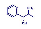 Phenylpropanolamine drug molecule, illustration