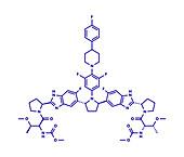 Pibrentasvir hepatitis C virus drug molecule, illustration