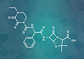 Piperacillin antibiotic drug molecule, illustration