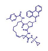 Paritaprevir hepatitis C virus drug molecule, illustration
