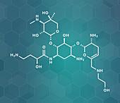 Plazomicin antibiotic drug molecule, illustration