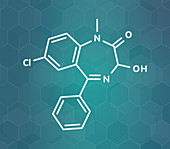 Temazepam benzodiazepine drug molecule, illustration