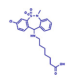 Tianeptine antidepressant drug molecule, illustration