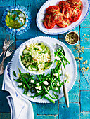 Greek Chickpea and Risoni Salad, Green Beans with Feta, Roasted Tomatoes
