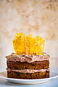 Tahini Cake with Chocolate Sesame Frosting and Sesame Caramel Shards