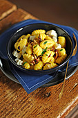 Pumpkin gnocchi with mushrooms and goat's cheese