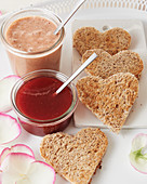 Raspberry curd and toast hearts for Valentine's Day