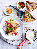 Crisp-skinned ginger fish with coconut rice