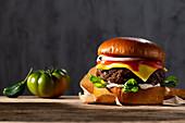 Cheeseburger with ketchup and onions