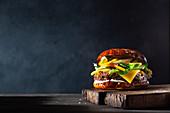 Burger with mango and avocado