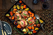 Roasted bacon chicken with sweet potatoes