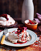 Golden Meringues with Baked Rhubarb