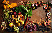 Different fruits and nuts