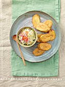 Avocado and sweetcorn mayonnaise with plantain chips