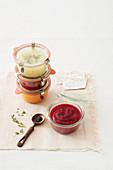 Various vegetable sauces in preserving jars
