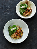 Fregola sarda with porcini mushrooms, spinach salad and Parmesan