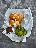 Fried fish with gherkins and malt mayonnaise