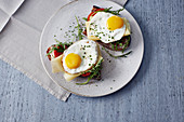 Italian fried eggs with cheese