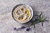 Vegan bean and lavender spread