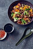 Oriental lentil and vegetables stir fry