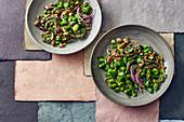 Vegan broad bean salad with pistachio nuts