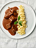 Braised hare with tagliatelle