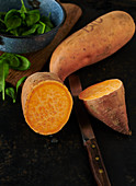 Organic sweet potato and baby spinach