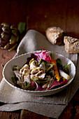 Warm rabbit salad with radicchio