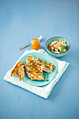 Apple and celeriac salad with turkey escalope