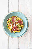 Quick courgette penne with alpine salami