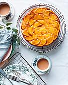 Orange, olive oil and dessert wine upside-down cake
