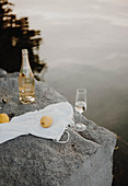 Bottle and glass of sparkling wine on rocky lake shore
