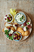 Cheese Platter with Feta Chese Patea and Olives