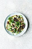 Israeli spinach salad with dates and avocado