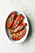Pointed peppers filled with feta cheese and pistachio nuts (Israel)