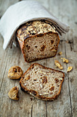 Nut bread with dried figs as box shaped bread