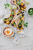 Barbecued Corn, Black Bean and Pomegranate Harissa Tortillas
