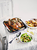 Roasted chicken with freekeh salad
