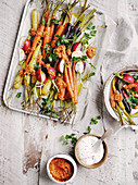 Roasted carrots with romesco sauce