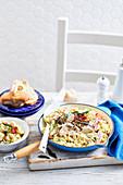 Tortellini mit Hähnchen-Saltimbocca
