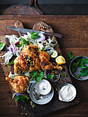 Chicken with fennel and pomegranate salad