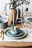 Table set in blue-grey and natural shades