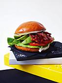 Char siu breakfast sandwich with avocado and bacon