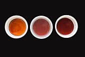 Very light caramel (146-155°C), Amber caramel (156-165°C) and dark caramel (166-175°C)