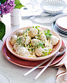 Baby chat potato salad with burrata dressing