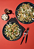 Couscous salad with peppers and sheep's cheese