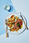 Saltimbocca alla romana with rosemary potatoes