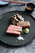 Marinated miyabi wagyu steak with mushrooms, onions and teriyaki sauce