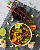 Noodles with Thai bolognese