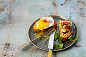 Avocado crostini with Dukkah, chilli and coriander - Crostini with fried duck egg